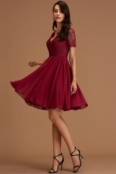 A-Line V-neck Chiffon Cocktail Dress With Lace_3