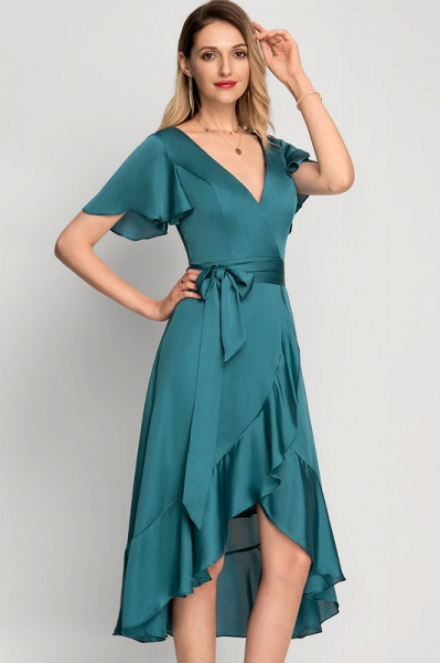 A-Line Asymmetrical Cocktail Dress With Bow(s) Cascading Ruffles_2