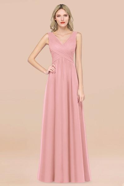 A-Line Chiffon Straps V-Neck Sleeveless Floor-Length Bridesmaid Dress with Ruffles_4