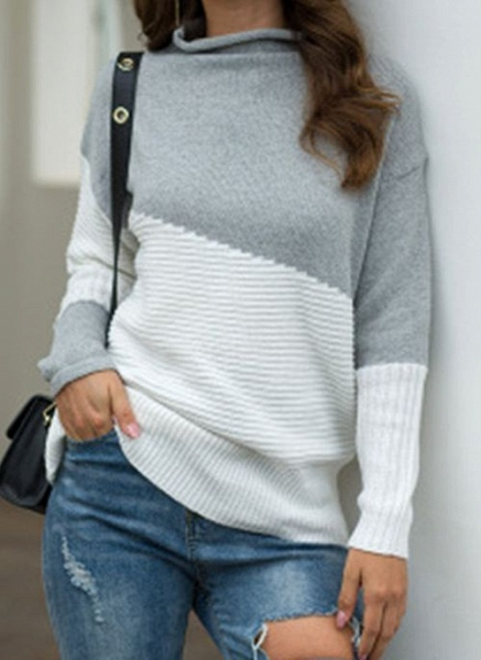 Round Neckline Color Block Casual Loose Regular Shift Sweaters_4