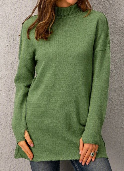 Draped Neckline Solid Casual Loose Long Shift Sweaters_5