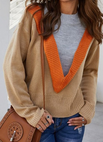 Round Neckline Color Block Casual Loose Regular Shift Sweaters_2