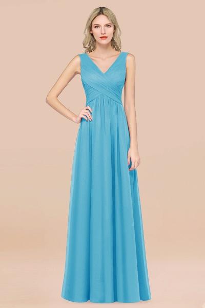 A-Line Chiffon Straps V-Neck Sleeveless Floor-Length Bridesmaid Dress with Ruffles_24