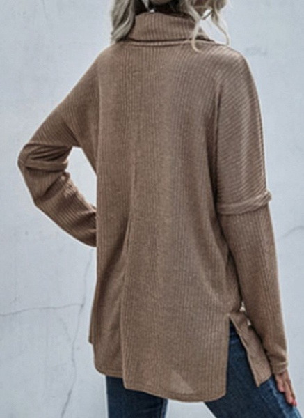 Draped Neckline Solid Casual Loose Regular Shift Sweaters_5