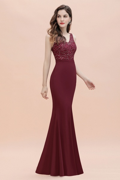 V-Neck Mermaid Evening Dress Sequins Chiffon Slim Party Dress_8