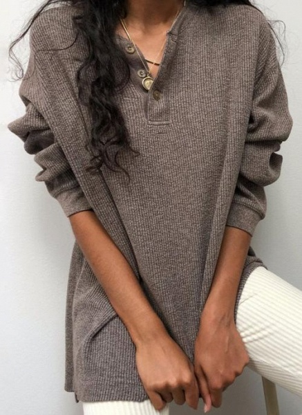 V-Neckline Solid Casual Loose Regular Buttons Sweaters_1