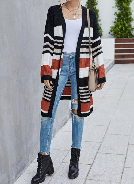 V-Neckline Color Block Casual Loose Long Pockets Sweaters_6