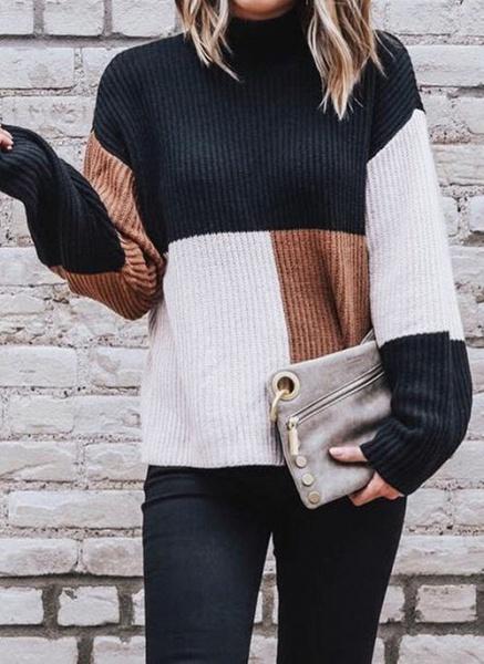 High Neckline Color Block Casual Loose Regular Shift Sweaters_5