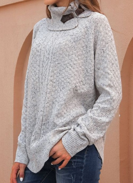 Draped Neckline Solid Casual Loose Regular Shift Sweaters_3