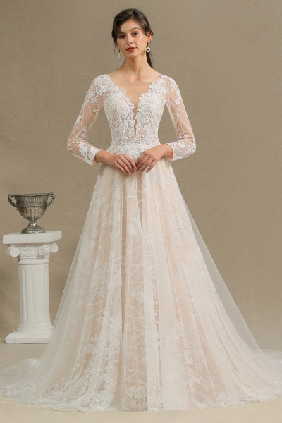 CPH230 Sheer Tulle Long Sleeve A-line Illusion Lace Wedding Dress_3