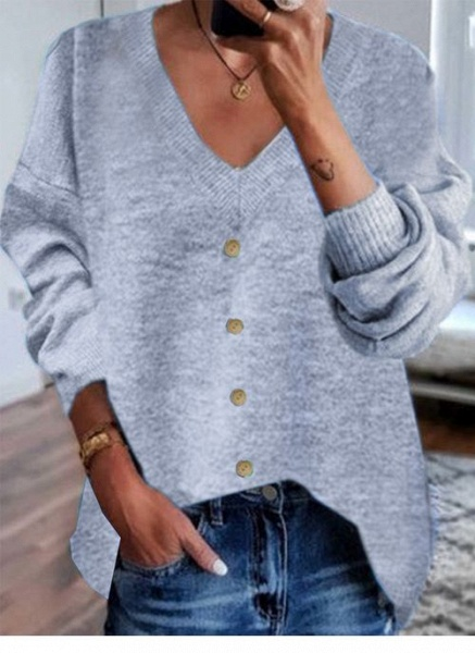 V-Neckline Solid Casual Loose Shift Sweaters_4