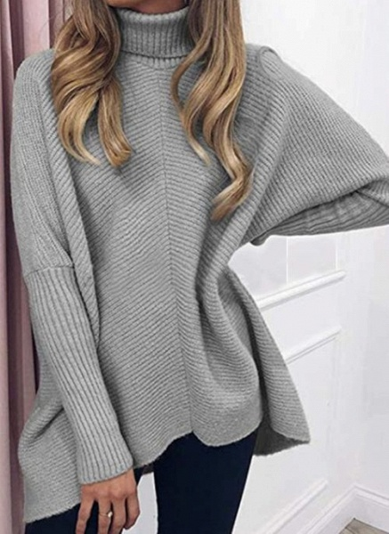 High Neckline Solid Casual Loose Regular A-line Sweaters_4