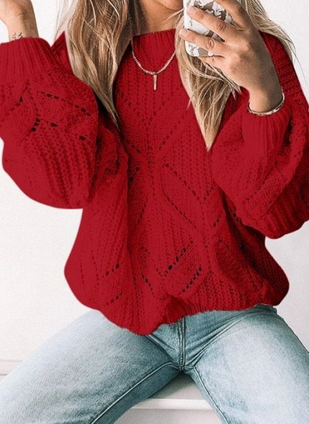 Round Neckline Solid Casual Loose Regular Shift Sweaters_2