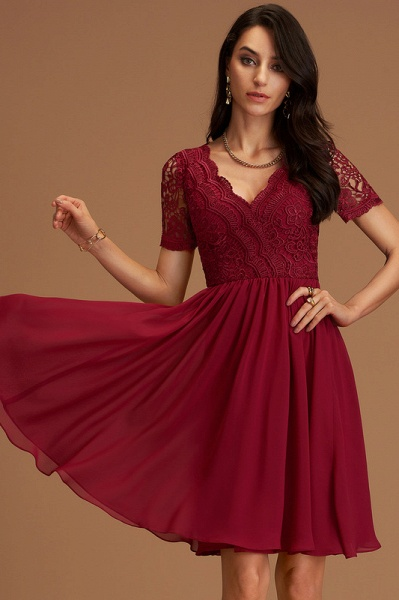 A-Line V-neck Chiffon Cocktail Dress With Lace_1