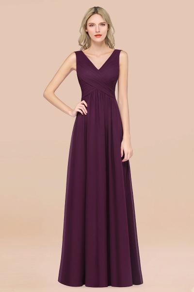 A-Line Chiffon Straps V-Neck Sleeveless Floor-Length Bridesmaid Dress with Ruffles_20