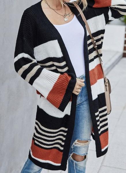 V-Neckline Color Block Casual Loose Long Pockets Sweaters_2