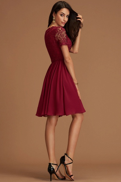 A-Line V-neck Chiffon Cocktail Dress With Lace_5