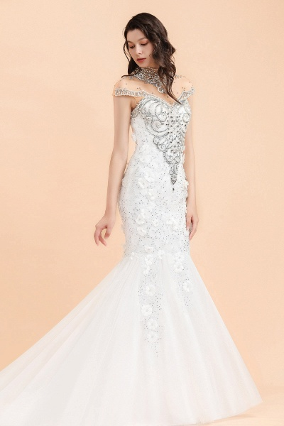 Appliques Crystal Beads Tulle Mermaid Wedding Dress_2