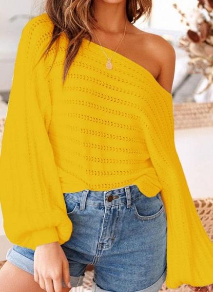 Oblique Neckline Solid Trendy Loose Regular Shift Sweaters_3