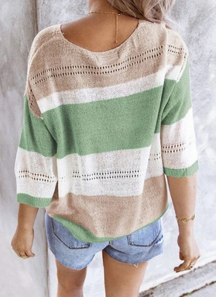 V-Neckline Color Block Casual Loose Regular Shift Sweaters_5