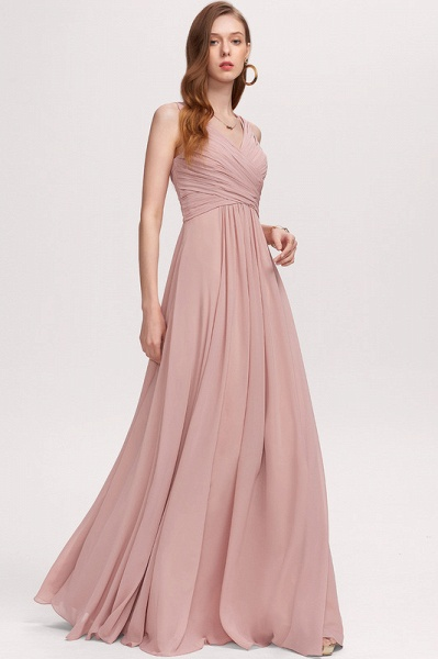 A-Line V-neck Floor-Length Chiffon Evening Dress With Ruffle_4