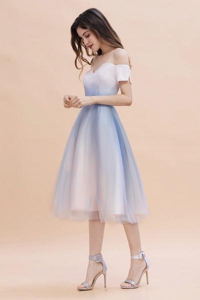 Off Shoulder Sweetheart Gradient A-line Evening Dress Tea Length_6