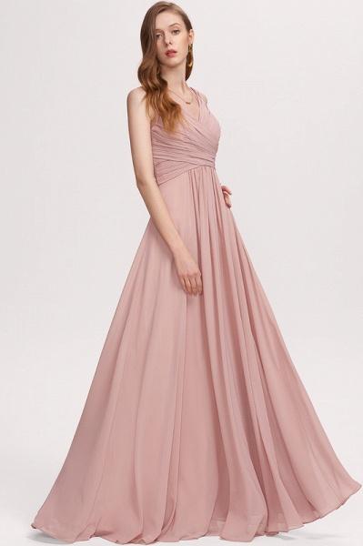 A-Line V-neck Floor-Length Chiffon Evening Dress With Ruffle_3