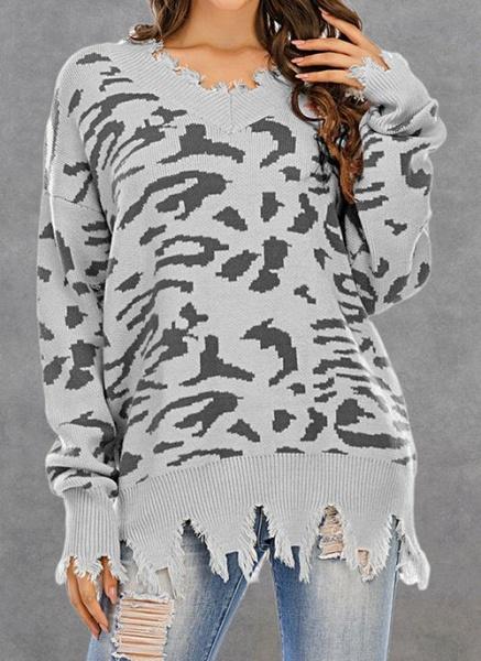 V-Neckline Leopard Casual Loose Regular Shift Sweaters_4
