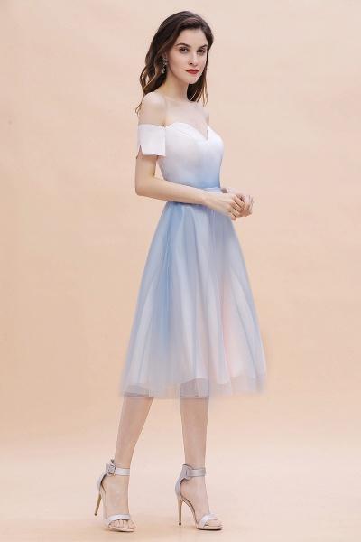 Off Shoulder Sweetheart Gradient A-line Evening Dress Tea Length_7