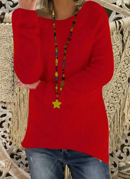 Round Neckline Solid Casual Loose Long Shift Sweaters_2