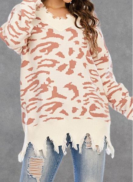 V-Neckline Leopard Casual Loose Regular Shift Sweaters_8