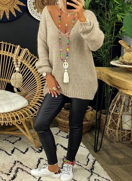 V-Neckline Solid Casual Loose Regular Lace Sweaters_7