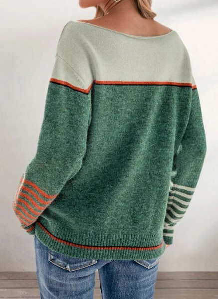 Boat Neckline Color Block Casual Loose Regular Shift Sweaters_5