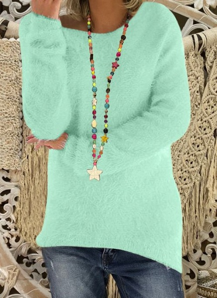 Round Neckline Solid Casual Loose Long Shift Sweaters_8
