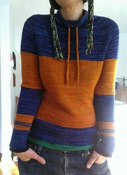 Round Neckline Color Block Casual Loose Shift Sweaters_2
