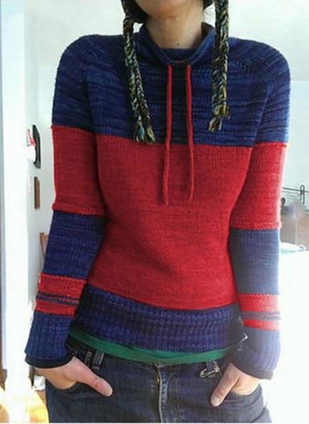 Round Neckline Color Block Casual Loose Shift Sweaters_1