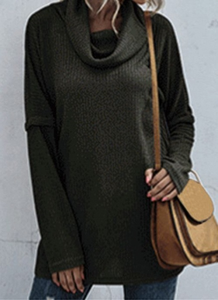 Draped Neckline Solid Casual Loose Regular Shift Sweaters_2