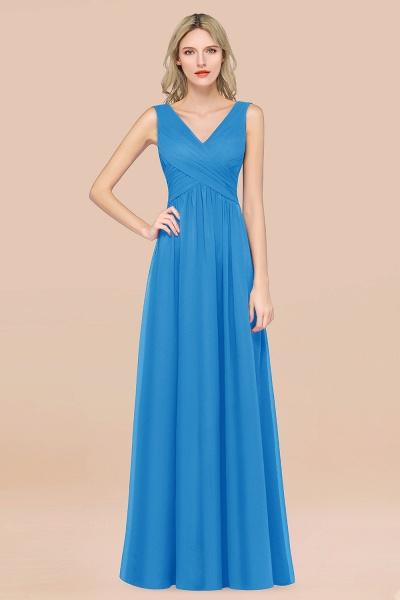 A-Line Chiffon Straps V-Neck Sleeveless Floor-Length Bridesmaid Dress with Ruffles_25