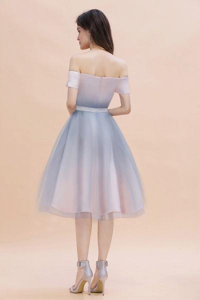 Off Shoulder Sweetheart Gradient A-line Evening Dress Tea Length_4