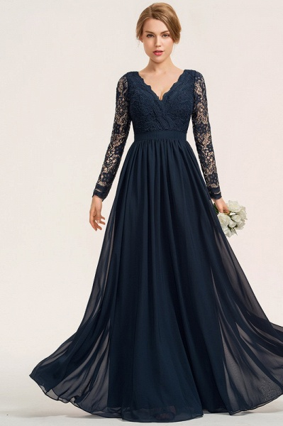 A-Line V-neck Floor-Length Chiffon Lace Evening Dress_3