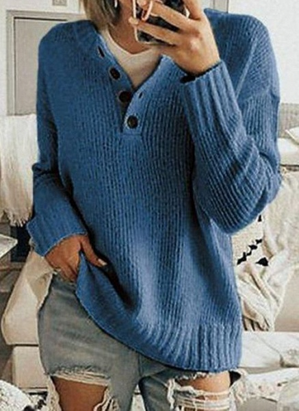 V-Neckline Solid Casual Loose Regular Buttons Sweaters_3