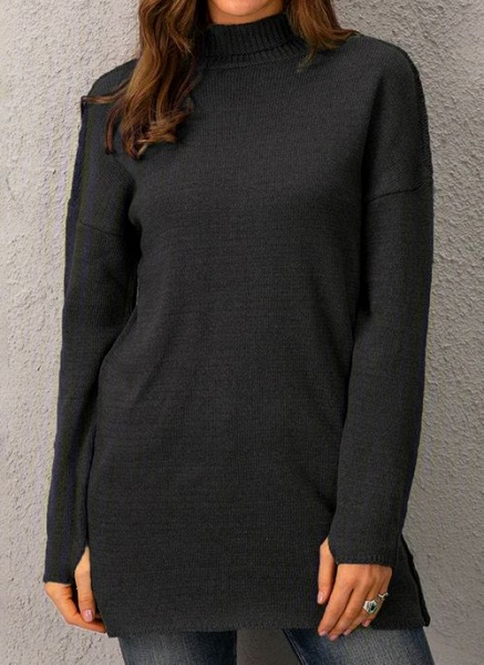 Draped Neckline Solid Casual Loose Long Shift Sweaters_2