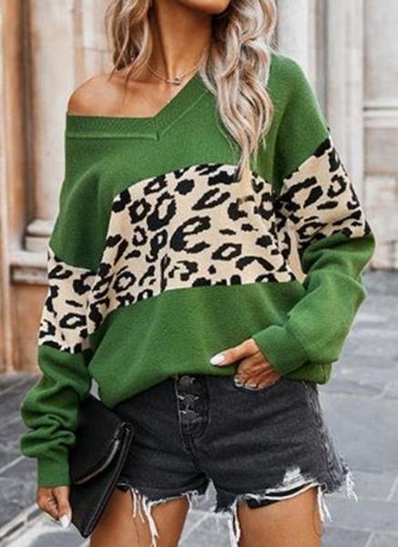 V-Neckline Color Block Casual Loose Regular Shift Sweaters_5