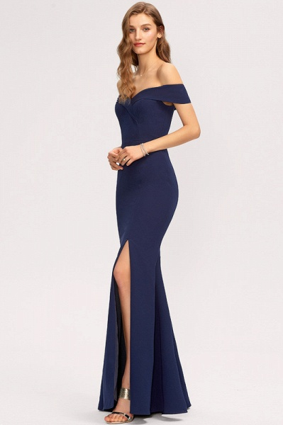 Trumpet/Mermaid Off-the-Shoulder Floor-Length Stretch Crepe Evening Dress With Split Front_2