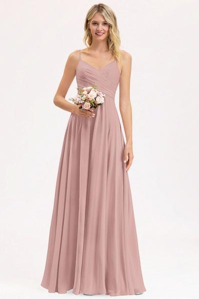 A-Line V-neck Floor-Length Chiffon Evening Dress With Ruffle_2