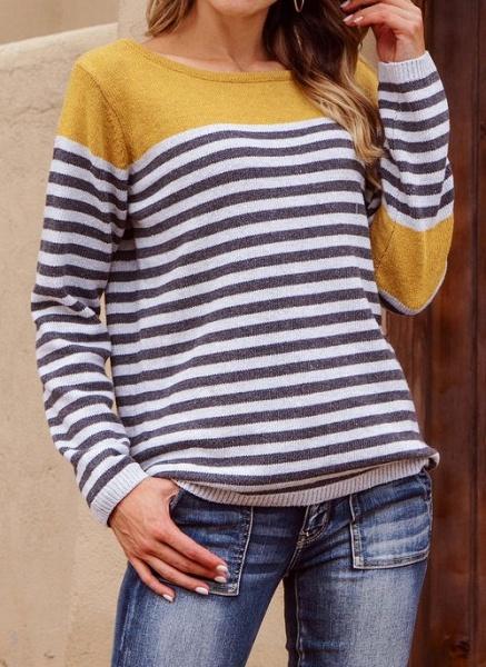 Boat Neckline Stripe Casual Loose Regular Shift Sweaters_4