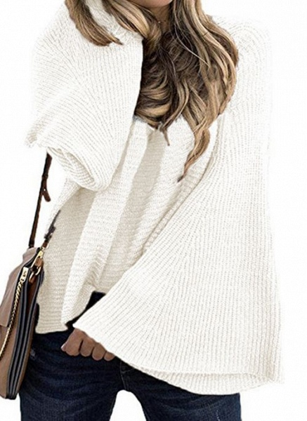 Round Neckline Solid Casual Loose Regular A-line Sweaters_1