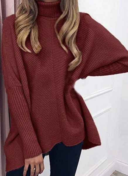 High Neckline Solid Casual Loose Regular A-line Sweaters_2