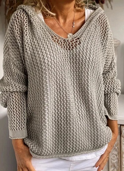 Hooded Solid Casual Loose Regular Hollow Out Sweaters_1