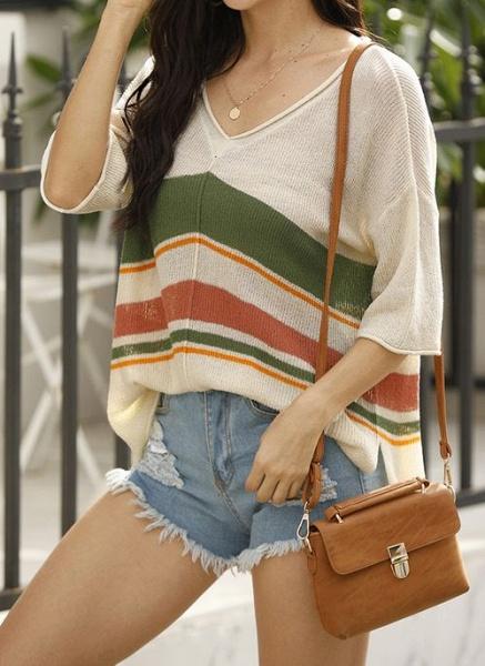 V-Neckline Stripe Elegant Loose Regular Shift Sweaters_9